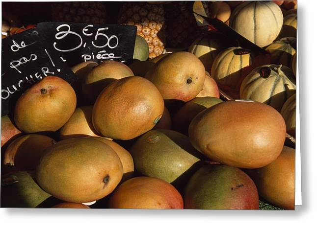 Mango Greeting Cards - Mangoes And Melons Priced In Euros Greeting Card by David Evans