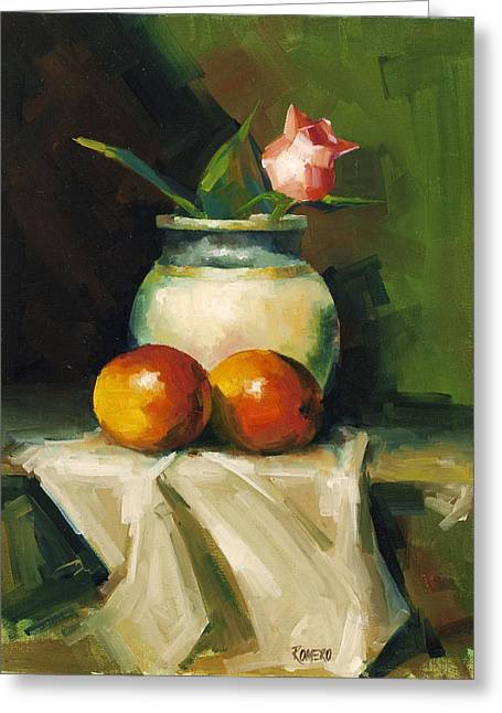 Mango Paintings Greeting Cards - Mangoes and Rose Greeting Card by Pepe Romero