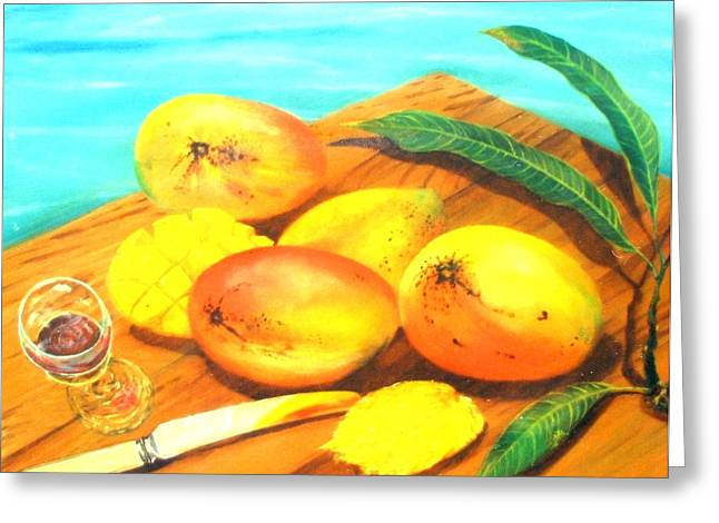 Mango Paintings Greeting Cards - Mangoes By The Pool Greeting Card by Ky Wilms