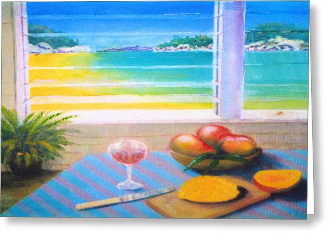 Mango Paintings Greeting Cards - Mangoes by the Sea Greeting Card by Ky Wilms