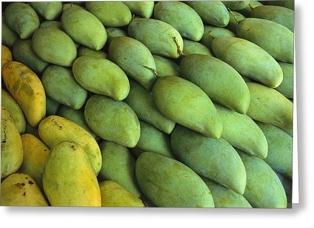 Mango Greeting Cards - Mangoes Sold At A Market Greeting Card by Todd Gipstein