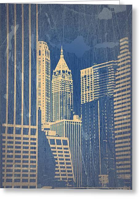 Buildings Greeting Cards - Manhattan 1 Greeting Card by Naxart Studio
