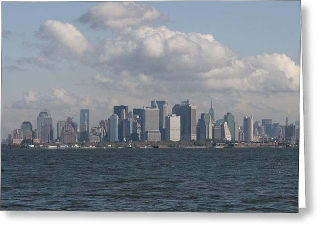 Governor Island Greeting Cards - Manhattan and Governors Island Greeting Card by Christopher Kirby