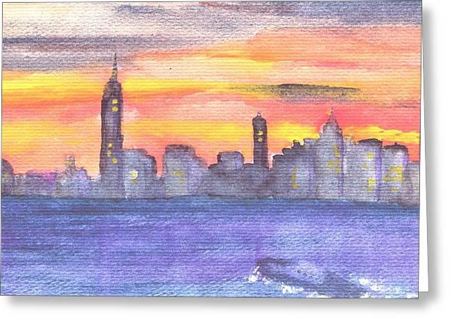 Hudson River Tugboat Greeting Cards - Manhattan at Dawn Greeting Card by Katherine Shemeld