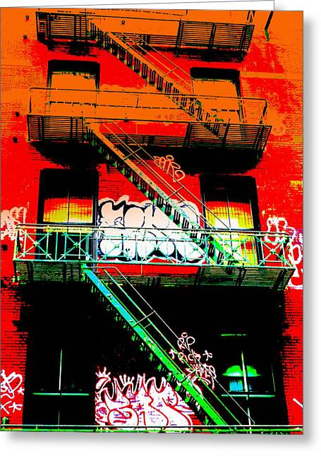 Fire Escapes Greeting Cards - Manhattan Fire Escape Greeting Card by Funkpix Photo Hunter