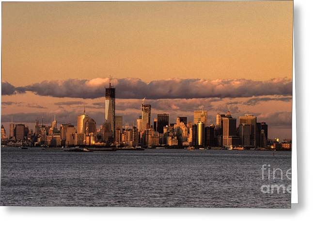 World Trade Centre Greeting Cards - Manhattan Skyline at dusk Greeting Card by Rob Hawkins