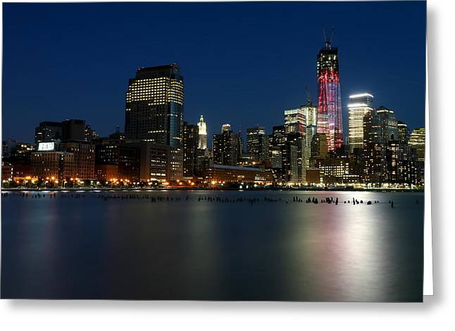 Calm Greeting Cards - Manhattan Skyline at Night Greeting Card by Larry Marshall