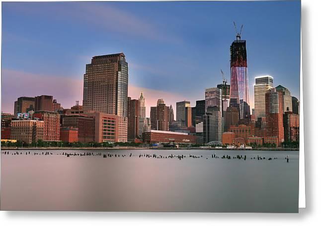 Manhattan Greeting Cards - Manhattan Skyline Greeting Card by Larry Marshall