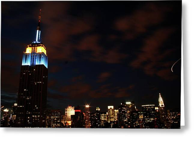 Uptown Rooftop Greeting Cards - Manhattan Skyline Greeting Card by Matthew Breslow