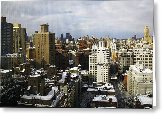 Snowy Day Greeting Cards - Manhattan View on a Winter Day Greeting Card by Madeline Ellis