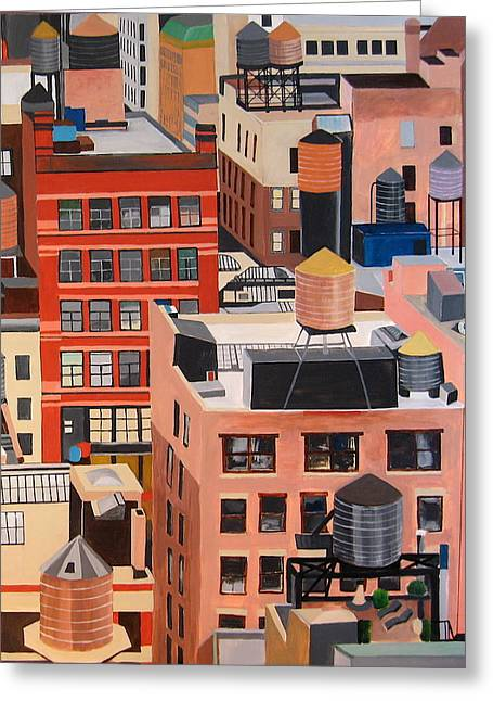Manhattan Paintings Greeting Cards - Manhattan Water Tanks Greeting Card by Toni Silber-Delerive