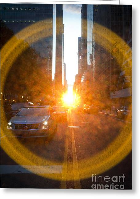 Olia Saunders Greeting Cards - Manhattanhenge New York Greeting Card by Design Remix