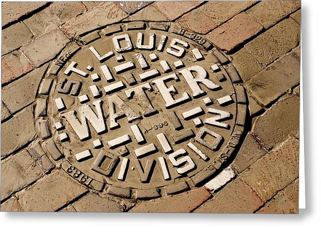 River Flooding Photographs Greeting Cards - Manhole Cover In St Louis Greeting Card by Mark Williamson