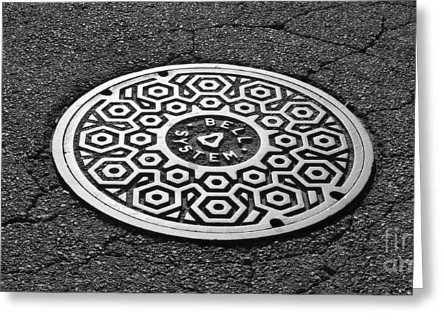 Manhole Greeting Cards - Manhole Cover Greeting Card by Luke Moore