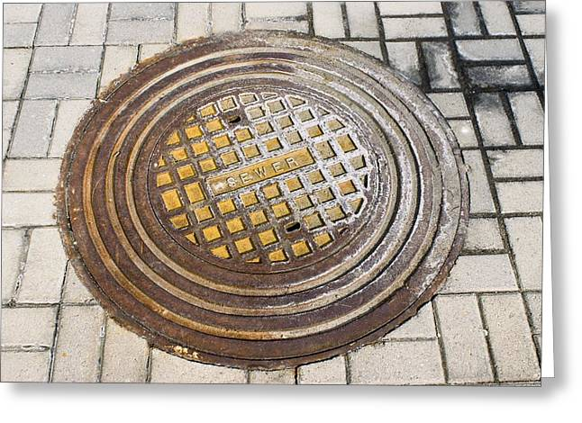 Manhole Greeting Cards - Manhole Cover Greeting Card by Mark Williamson