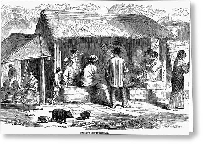 Mesoamerica Greeting Cards - Manila: Barbershop, 1858 Greeting Card by Granger