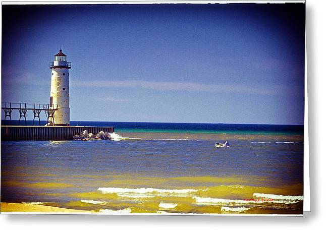 Timothy J Berndt Greeting Cards - Manistee Lighthouse Greeting Card by Timothy J Berndt