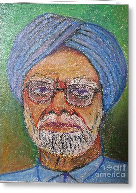 Sell Art Online Greeting Cards - Manmohan Singh Greeting Card by Nedunseralathan R