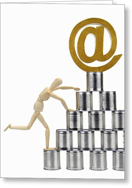 Could Reach Greeting Cards - Mannequin climbing tin cans pyramid Greeting Card by Sami Sarkis