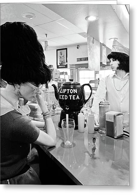 Peggy Sues Diner Greeting Cards - Mannequins at Peggy Sues 50s Diner Greeting Card by Julie Niemela
