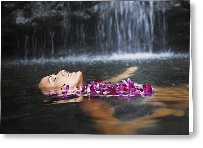 Manoa Falls Greeting Cards - Manoa Falls, Beautiful female Greeting Card by Brandon Tabiolo - Printscapes