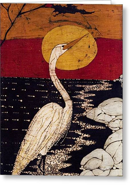 Lady Tapestries - Textiles Greeting Cards - Manos Egret Greeting Card by Alexandra  Sanders