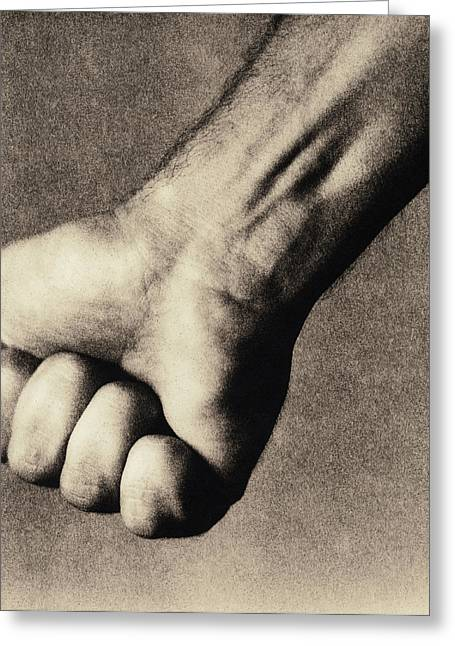 Clenched Fist Greeting Cards - Mans Clenched Fist Greeting Card by Cristina Pedrazzini