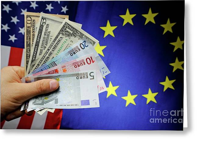 One Mature Man Only Greeting Cards - Mans hand with US and Euro banknotes on European Union and US F Greeting Card by Sami Sarkis