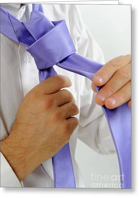 Button Down Shirt Greeting Cards - Mans hands adjusting tie Greeting Card by Sami Sarkis