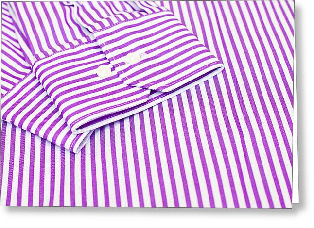 Striped Shirt Greeting Cards - Mans shirt Greeting Card by Tom Gowanlock