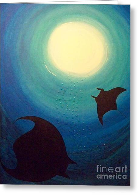 Scuba Diving Mixed Media Greeting Cards - Manta Rays Greeting Card by Gigi Croom