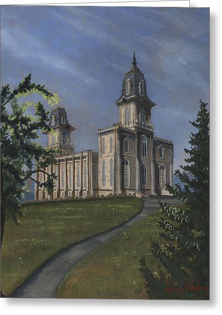 Lds Temples Greeting Cards - Manti Temple East Doors Greeting Card by Jeff Brimley