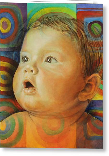 Innocence Greeting Cards - Manuels Portrait Greeting Card by Karina Llergo Salto