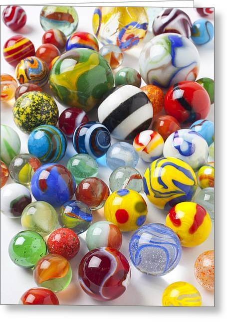 Child Toy Greeting Cards - Many beautiful marbles Greeting Card by Garry Gay