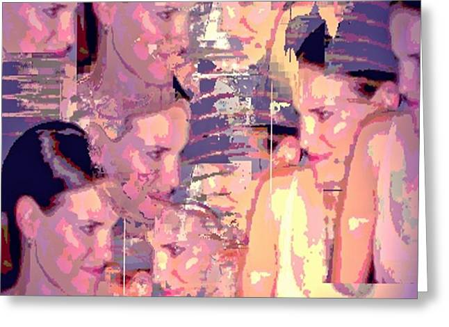 Hebert Greeting Cards - Many Faces 2 Greeting Card by Marian Hebert