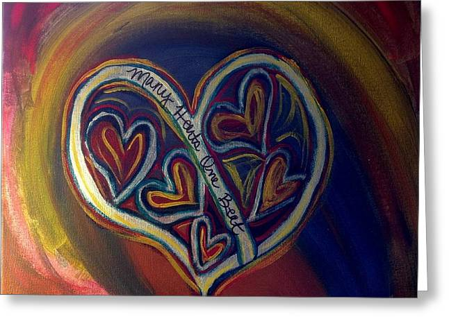 Sacrificial Paintings Greeting Cards - Many Hearts One Beat - Blue Greeting Card by Kathryn Bonner