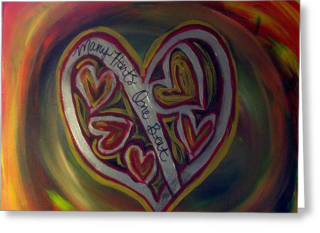 Sacrificial Paintings Greeting Cards - MANY HEARTS ONE BEAT - Red  Greeting Card by Kathryn Bonner