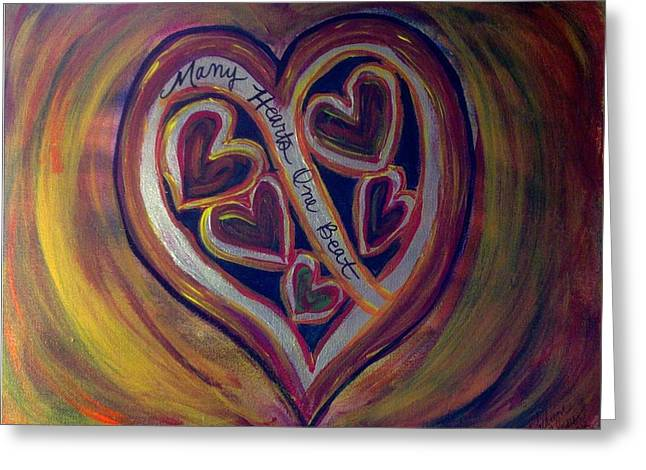 Sacrificial Paintings Greeting Cards - MANY HEARTS ONE BEAT - Yellow Greeting Card by Kathryn Bonner