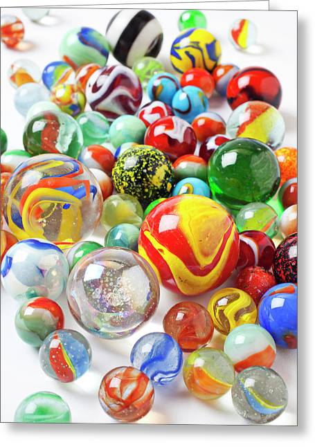 Toys Greeting Cards - Many marbles  Greeting Card by Garry Gay