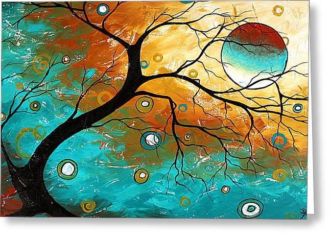 Whimsical Tree Greeting Cards - Many Moons Ago by MADART Greeting Card by Megan Duncanson