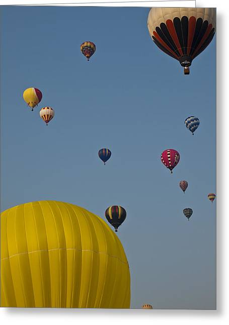 Many People Lift Off In Hot Air Greeting Card by Stacy Gold
