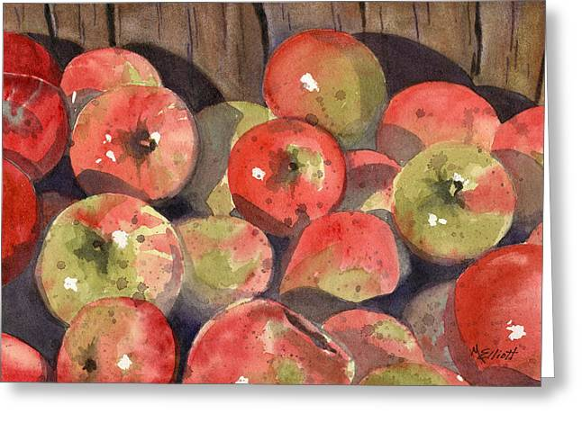 Apple Crates Greeting Cards - Manzanas Greeting Card by Marsha Elliott