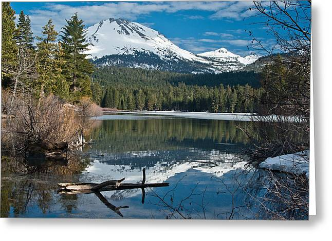 Manzanita Greeting Cards - Manzanita Lake Reflects on Mount Lassen Greeting Card by Greg Nyquist