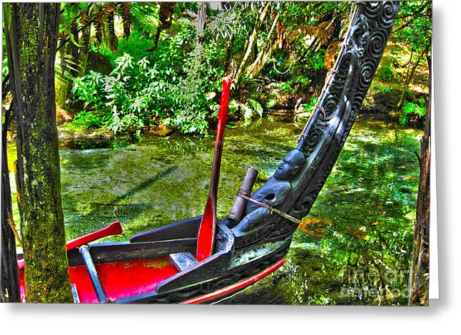 Joanne Kocwin Greeting Cards - Maori Canoe Greeting Card by Joanne Kocwin