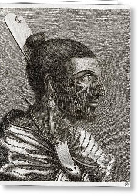 Maoris Greeting Cards - Maori Man, Profile, 18th Century Greeting Card by Middle Temple Library