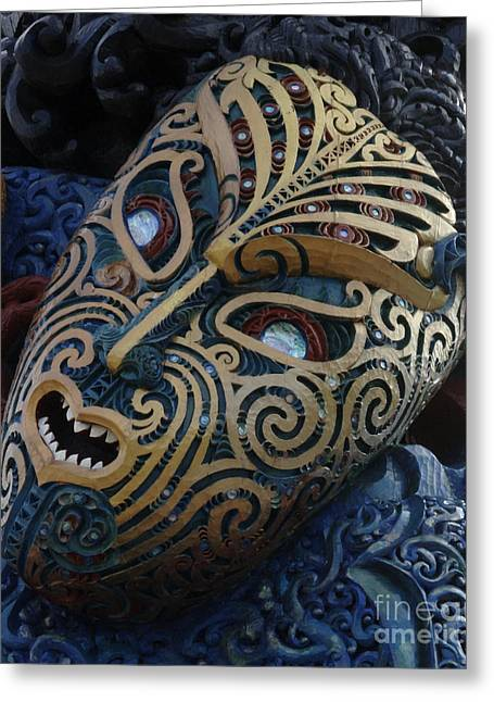 Maoris Greeting Cards - Maori Mask New Zealand Greeting Card by Bob Christopher