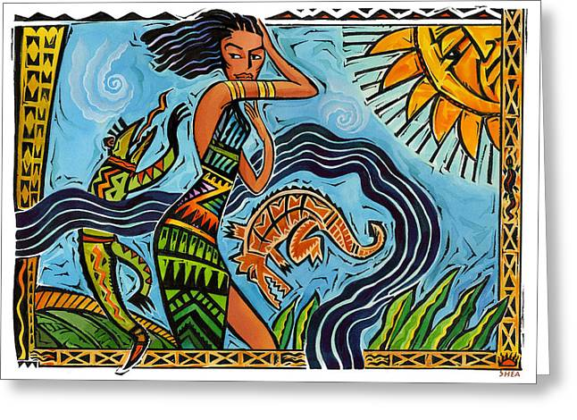 Tribal Paintings Greeting Cards - Maori Woman Dance Greeting Card by Shawn Shea