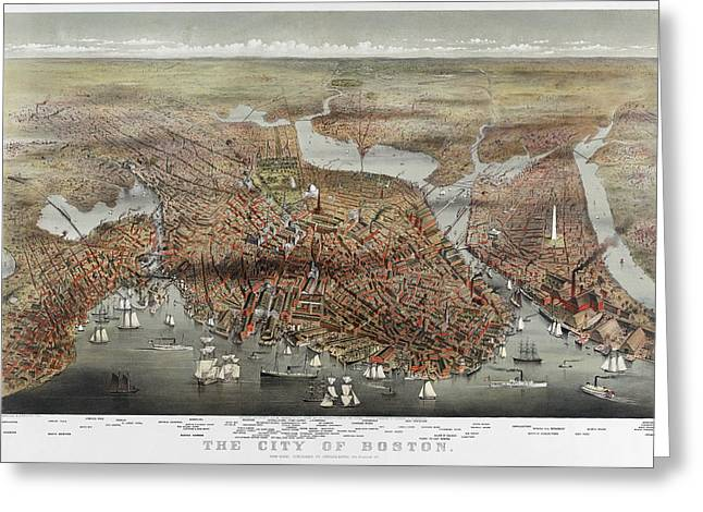 Chromolithograph Greeting Cards - MAP: BOSTON, c1873 Greeting Card by Granger