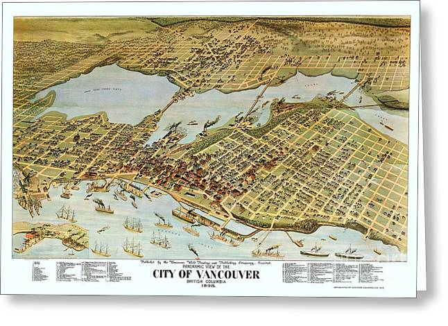 Vancouver Mixed Media Greeting Cards - Map City of Vancouver Greeting Card by Pg Reproductions