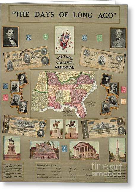Stonewall Greeting Cards - Map: Confederate States Greeting Card by Granger